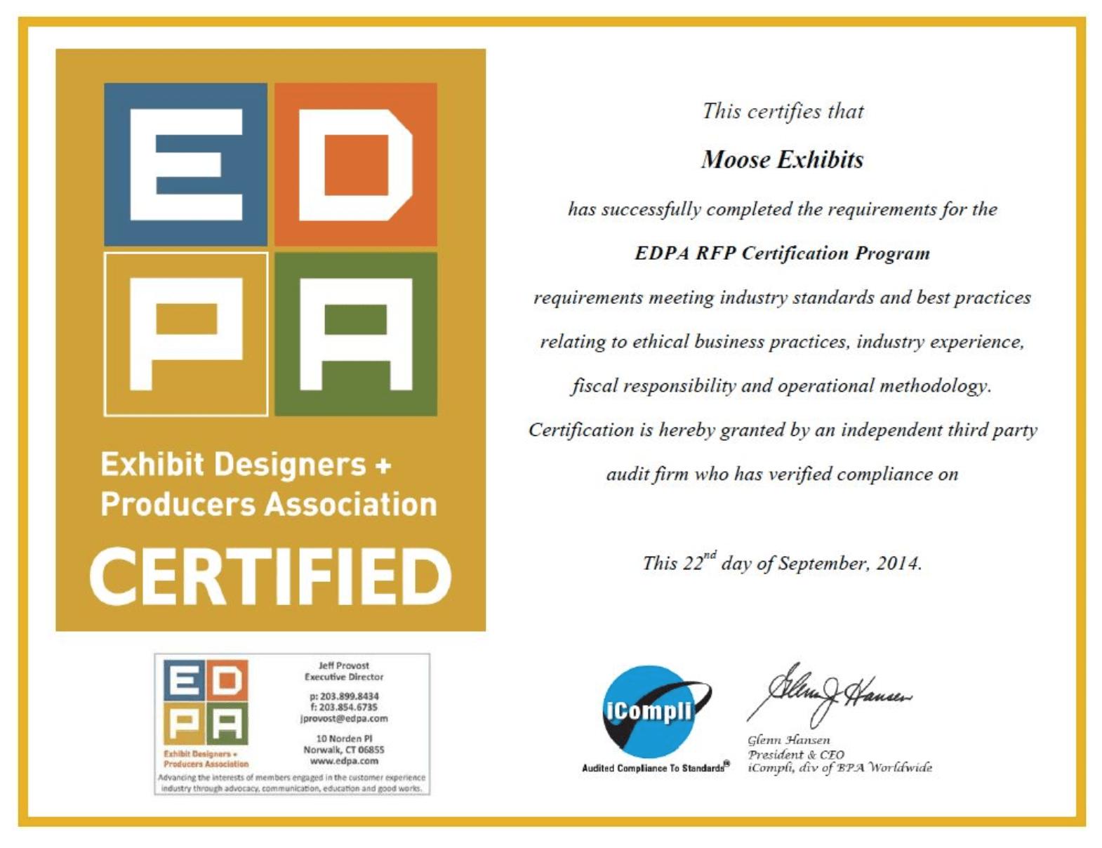 EDPA Certificate